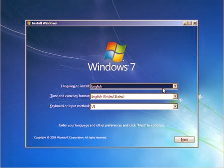 Cara Instal Windows 7 - Format Language, Time, Keyboard