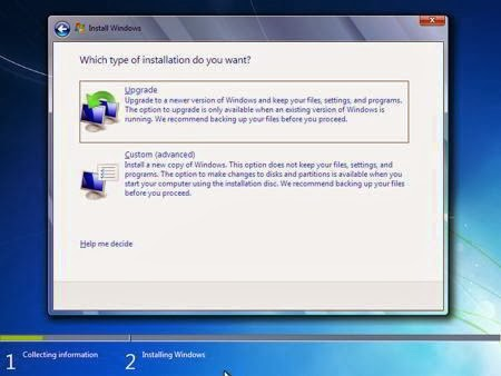 Cara Instal Windows 7 - Custom (advanced)