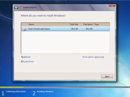 Cara Instal Windows 7 - Partisi Hardisk 1