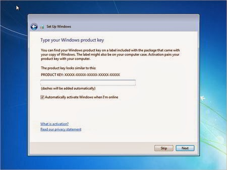 Type Product Key Windows 7
